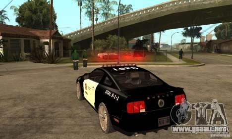 Shelby GT500KR Edition POLICE para GTA San Andreas vista posterior izquierda