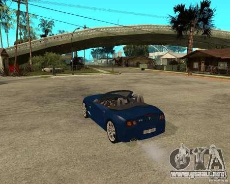 BMW Z4 para GTA San Andreas vista posterior izquierda