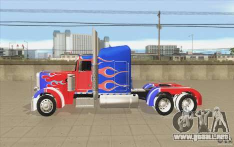 Peterbilt 379 Optimus Prime para GTA San Andreas left