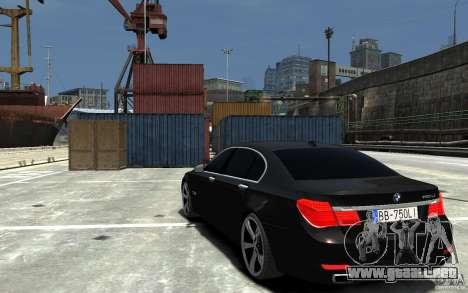 BMW 750 LI F01 v1.3 para GTA 4 Vista posterior izquierda
