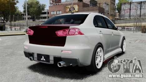 Mitsubishi Lancer Evolution X ToneBee Designs para GTA 4 Vista posterior izquierda