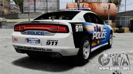 Dodge Charger 2013 Police Code 3 RX2700 v1.1 ELS para GTA 4 Vista posterior izquierda