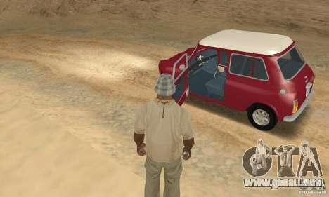 Mini Cooper S para GTA San Andreas vista hacia atrás