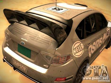 Subaru Impreza Gravel Rally para GTA San Andreas vista hacia atrás