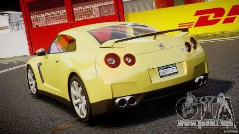 Nissan GT-R R35 2010 v1.3 para GTA 4 Vista posterior izquierda