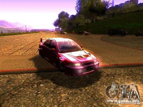 Mitsubishi Lancer Evolution VI GSR 1999 para GTA San Andreas vista posterior izquierda