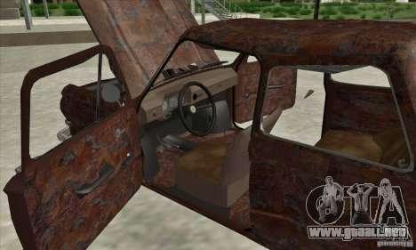 ZAZ 968 abandonado v. 2 para visión interna GTA San Andreas