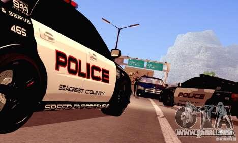 Dodge Charger Fast Five para GTA San Andreas vista hacia atrás