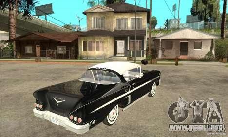 Chevrolet Impala 1958 para GTA San Andreas vista hacia atrás