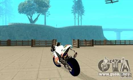 Honda Valentino Rossi Pcj600 para GTA San Andreas vista posterior izquierda