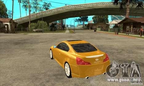 Infiniti G37 Coupe Sport para GTA San Andreas vista hacia atrás