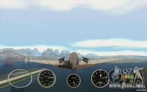 Instrumentos de aire en un avión para GTA San Andreas segunda pantalla