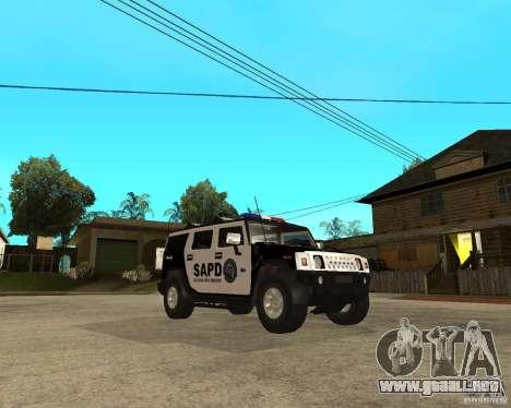 AMG H2 HUMMER SUV SAPD Police para GTA San Andreas vista hacia atrás