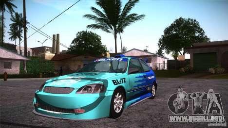 Honda Civic Tuneable para vista inferior GTA San Andreas