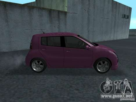 Toyota WiLL Cypha para GTA San Andreas vista posterior izquierda