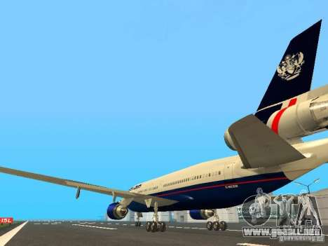McDonell Douglas DC10 British Airways para GTA San Andreas vista posterior izquierda