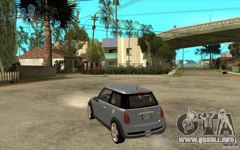 Mini Cooper - Stock para GTA San Andreas vista posterior izquierda
