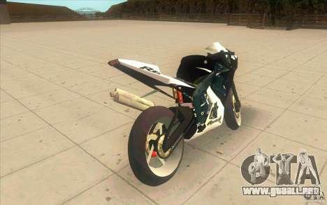 Yamaha Copbike Beta para GTA San Andreas vista posterior izquierda