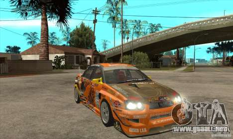 Subaru Impreza D1 WRX Yukes Team Orange para GTA San Andreas vista hacia atrás