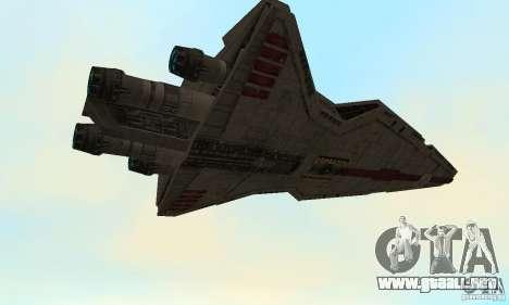 Republic Attack Cruiser Venator class v3 para GTA San Andreas vista hacia atrás