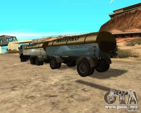 Trailer de Kamaz 53212 petrolero de la leche para GTA San Andreas vista posterior izquierda