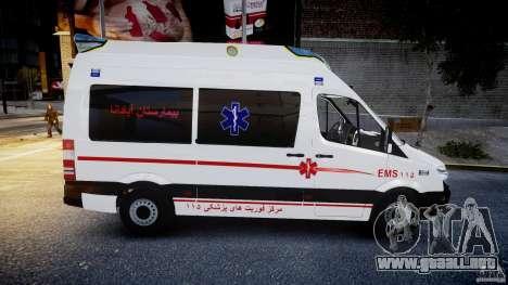 Mercedes-Benz Sprinter Iranian Ambulance [ELS] para GTA 4 vista interior