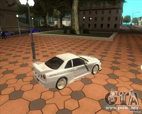 Nissan Skyline R34 Veilside street drag para GTA San Andreas vista posterior izquierda