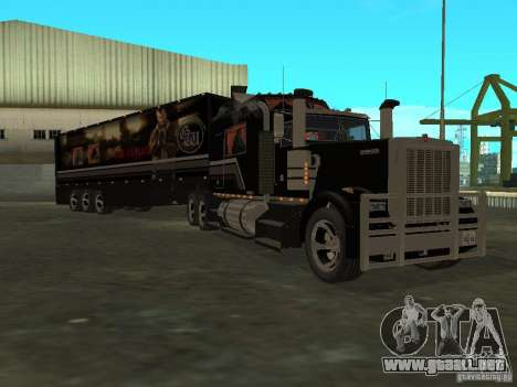 Custom Kenworth w900 - Custom - Trailer para GTA San Andreas vista hacia atrás