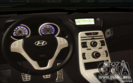 Hyundai Genesis 3.8 Coupe para visión interna GTA San Andreas