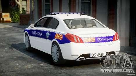 Peugeot 508 Macedonian Police [ELS] para GTA 4 vista lateral