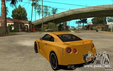 Nissan GT-R R35 para GTA San Andreas vista posterior izquierda
