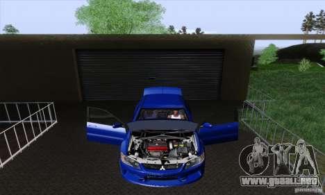 Mitsubishi Lancer Evolution 9 MR Edition para visión interna GTA San Andreas