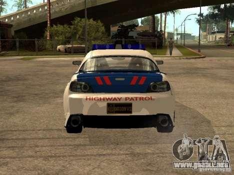 Mazda RX-8 Police para GTA San Andreas vista posterior izquierda