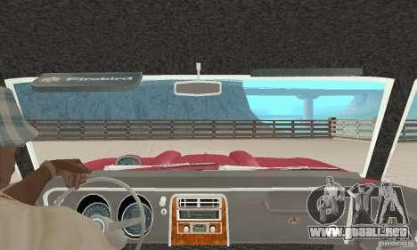 Pontiac Firebird 1968 para visión interna GTA San Andreas
