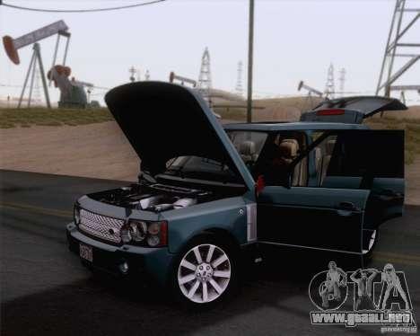 Land Rover Range Rover Supercharged 2008 para GTA San Andreas vista posterior izquierda