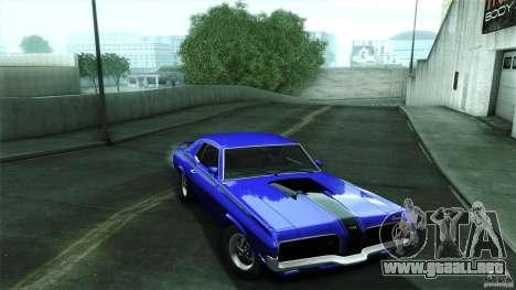 Mercury Cougar Eliminator 1970 para GTA San Andreas vista hacia atrás
