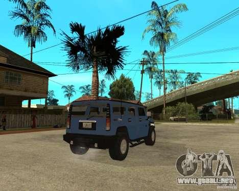 AMG H2 HUMMER para GTA San Andreas vista posterior izquierda