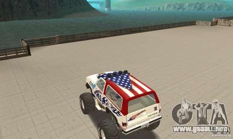 Chevrolet Blazer K5 Monster Skin 7 para GTA San Andreas vista posterior izquierda