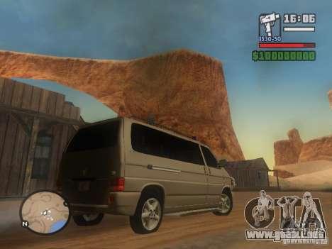 Volkswagen Multivan para GTA San Andreas vista posterior izquierda