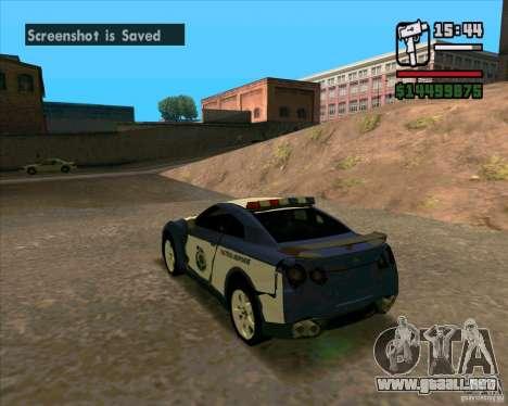Nissan GTR35 Police Undercover para la visión correcta GTA San Andreas