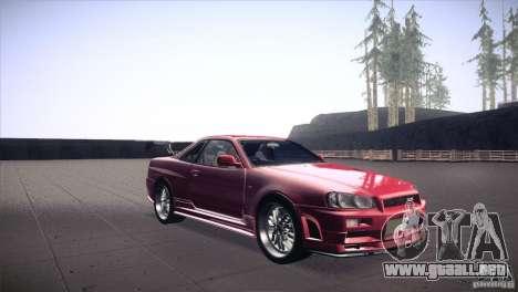 Nissan Skyline R34 para GTA San Andreas vista hacia atrás