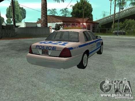Ford Crown Victoria NYPD para GTA San Andreas vista posterior izquierda