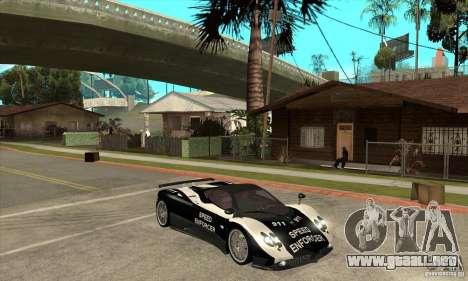 Pagani Zonda F Speed Enforcer BETA para GTA San Andreas vista hacia atrás