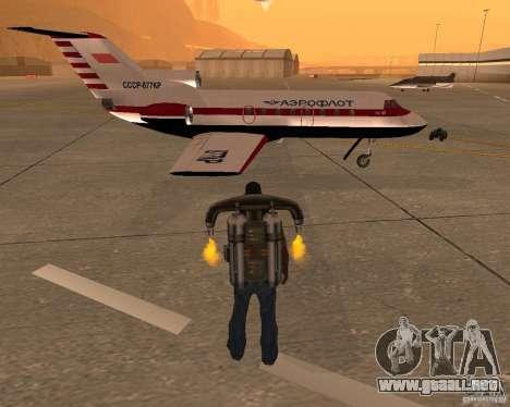 El avión Yak-40 para la visión correcta GTA San Andreas
