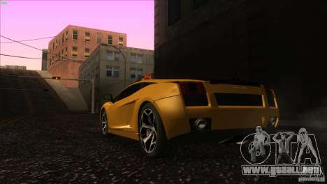 Lamborghini Gallardo SE para GTA San Andreas vista posterior izquierda