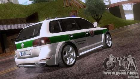Volkswagen Touareg Policija para GTA San Andreas vista hacia atrás