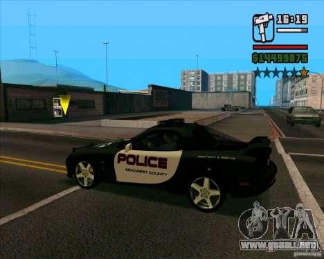 Mazda RX-7 FD3S Police para GTA San Andreas vista posterior izquierda