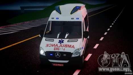 Mercedes-Benz Sprinter Iranian Ambulance [ELS] para GTA 4 vista desde abajo