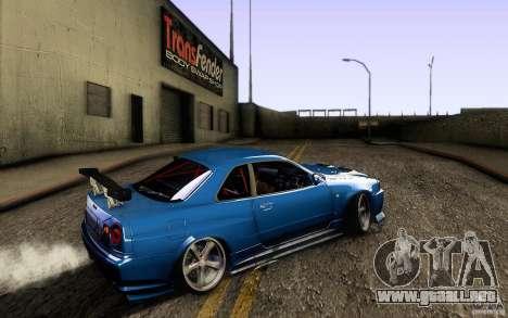 Nissan Skyline GT-R34 para GTA San Andreas vista posterior izquierda