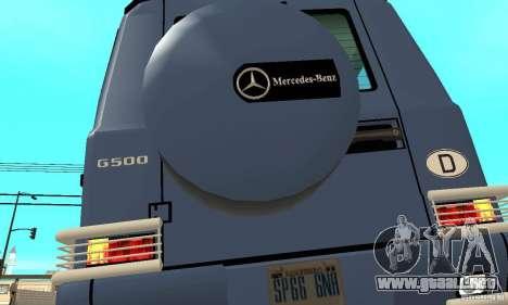 Mercedes-Benz G500 1999 Short [with kangoo v1] para vista lateral GTA San Andreas